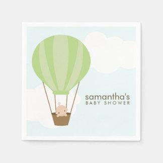 Baby in Green Hot Air Balloon Baby Shower Paper Serviettes