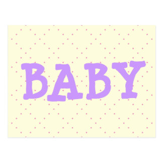 BABY in Light Purple on Pale Yellow & Pink Dots Postcard