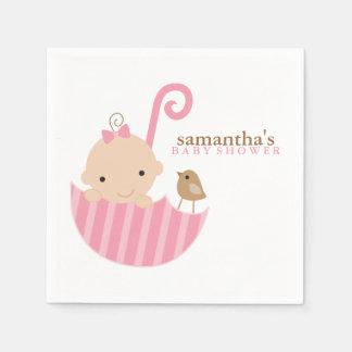 Baby in Pink Umbrella Baby Shower Paper Serviettes