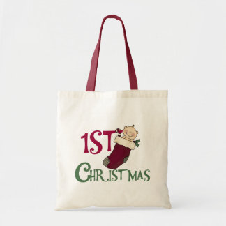 Baby in Stocking 1st Christmas Canvas Bags