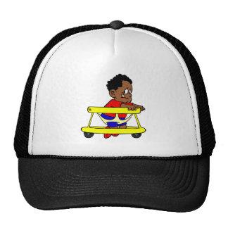 Baby in walker trucker hat
