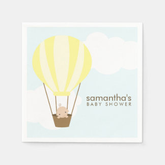 Baby in Yellow Hot Air Balloon Baby Shower Disposable Napkins