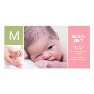 Baby Initial Birth Announcement - Pink Photo Greeting Card