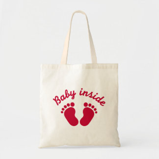 Baby inside feet tote bags