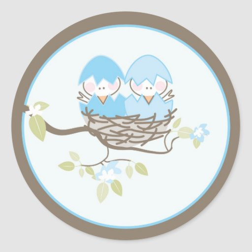 Baby Invitation or Favor Sticker - Twin Birds