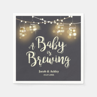 Baby is brewing bbq Baby shower couples Napkins Disposable Napkin