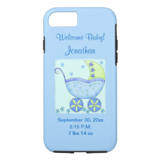 Baby Its A Boy Blue Birth Announcement Cell iPhone 7 Case