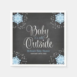 Baby It's Cold Outside Blue Snowflakes Baby Shower Disposable Serviettes