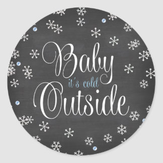 Baby It's Cold Outside Blue Snowflakes Baby Shower Round Sticker