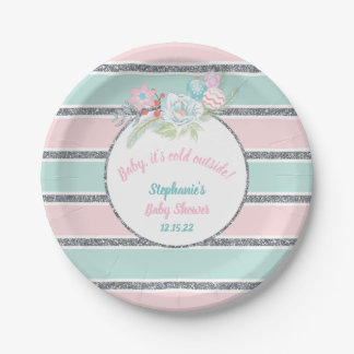 Baby it's cold outside, girl baby shower decor paper plate
