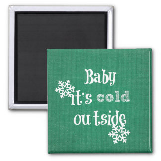 Baby it's Cold Outside: Green Faux Sweater Magnet