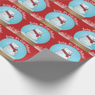 Baby It's Cold Outside Polar Bear Christmas Wrapping Paper