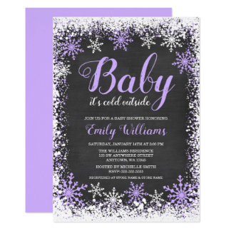 Baby Its Cold Outside Snow Purple Girl Baby Shower Card