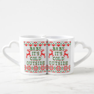 Baby It's Cold Outside Ugly Sweater Style Couples Mug