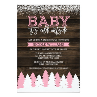 Baby It's Cold Outside Winter Girl Baby Shower Card
