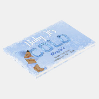 Baby It's Cold Snowflake Blue Ethnic Boy Shower Guest Book