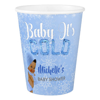 Baby It's Cold Snowflake Blue Ethnic Boy Shower Paper Cup