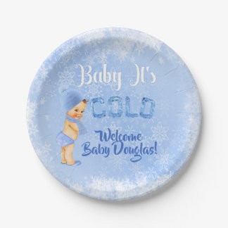 Baby It's Cold Snowflake Winter Blue Boy Shower Paper Plate