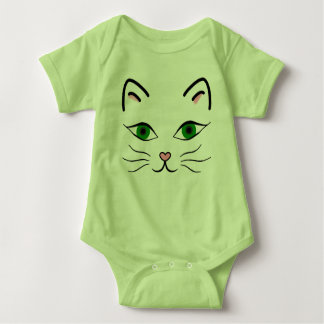 Baby Jersey Bodysuit - Kitty Face