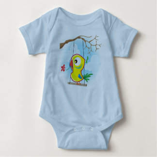 Baby Jersey Bodysuit, Light Blue with parrot Baby Bodysuit