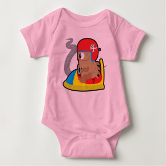 Baby jersey bodysuit with driving monster