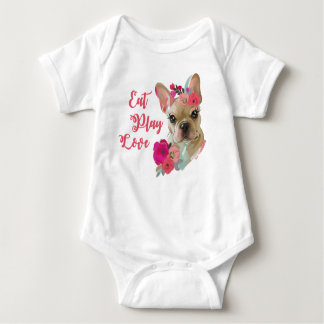 Baby Jersey Bodysuit with french bulldog design