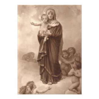 Baby Jesus and Mother Mary Custom Announcements