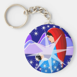 Baby Jesus and Virgin Mary in Starlight Basic Round Button Key Ring