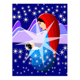 Baby Jesus and Virgin Mary in Starlight Postcard