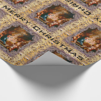 Baby Jesus Born to Save Victorian Wrapping Paper