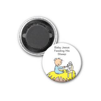 Baby Jesus Feeding His Sheep 3 Cm Round Magnet