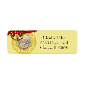 Baby Jesus in the Manger Christmas Bells Ribbon Return Address Label