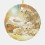 Baby Jesus Nativity with Lambs and Donkey Round Ceramic Decoration