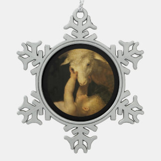Baby Jesus Touches Face of Lamb Snowflake Pewter Christmas Ornament