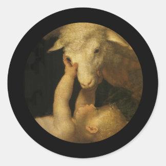 Baby Jesus Touches Lamb Classic Round Sticker
