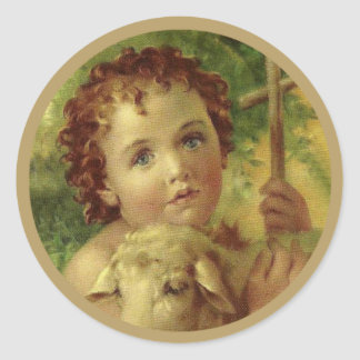 Baby Jesus with Cross & Lamb Classic Round Sticker