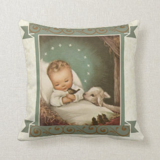 Baby Jesus with lamb & bird in manger Cushion