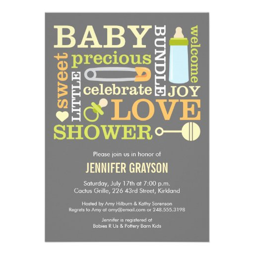 Baby Jumble Baby Shower invitation in Yellow Custom Announcements