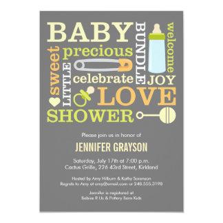 Baby Jumble Baby Shower invitation in Yellow