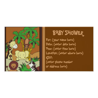 Baby Jungle 10 Baby Shower Customized Photo Card