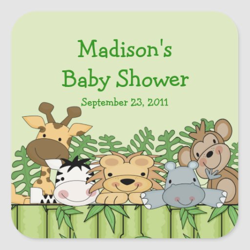 Baby Jungle Safari Baby Shower Square Sticker!