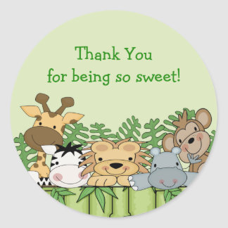 Baby Jungle Safari Thank You Baby Shower Sticker
