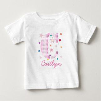 Baby Kids Typography Monogram with Stars Baby T-Shirt