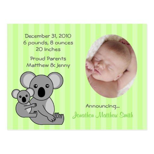 Baby Koala Bear Birth Announcements Postcard