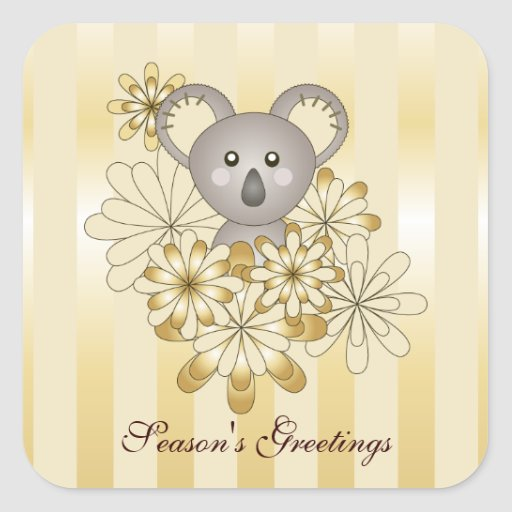 Baby Koala Gold Stripes Kids Custom Square Sticker