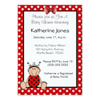 Baby Ladybug 5x7 Paper Invitation Card