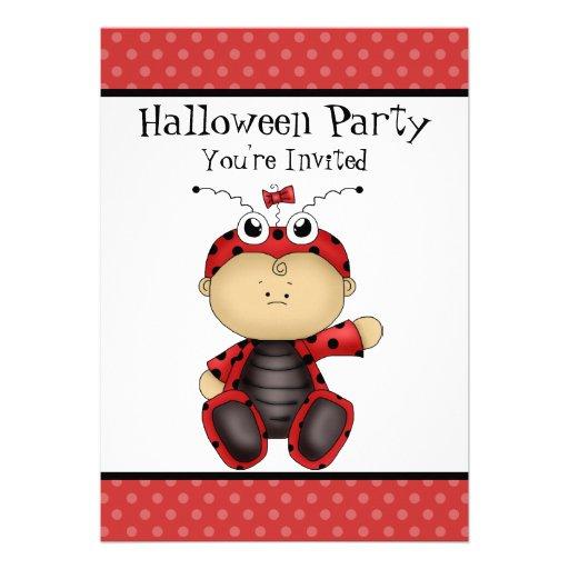Baby Ladybug Halloween Party Personalized Invitations