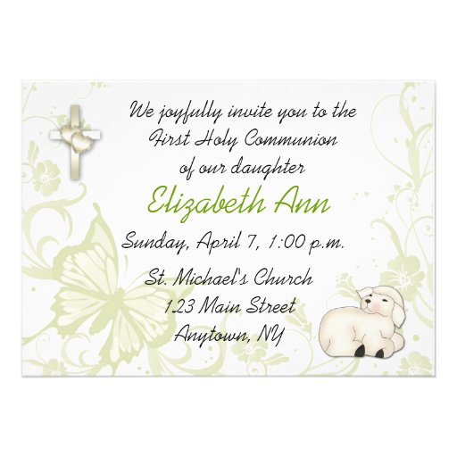 Baby Lamb Religious Invitation
