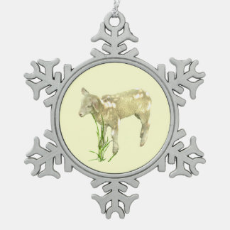 Baby Lamb Yellow Pewter Snowflake Ornament