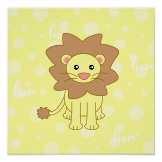 Baby Lion Cute Poster / Print